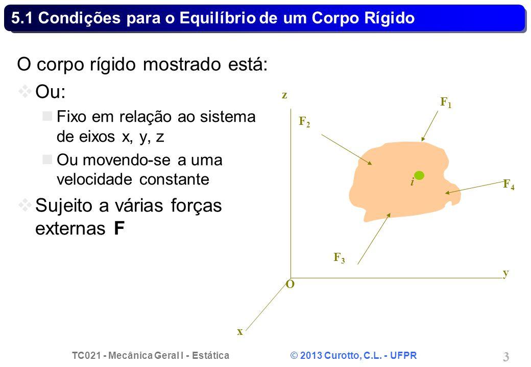 5.1 Condições para o Equilíbrio de um Corpo Rígido