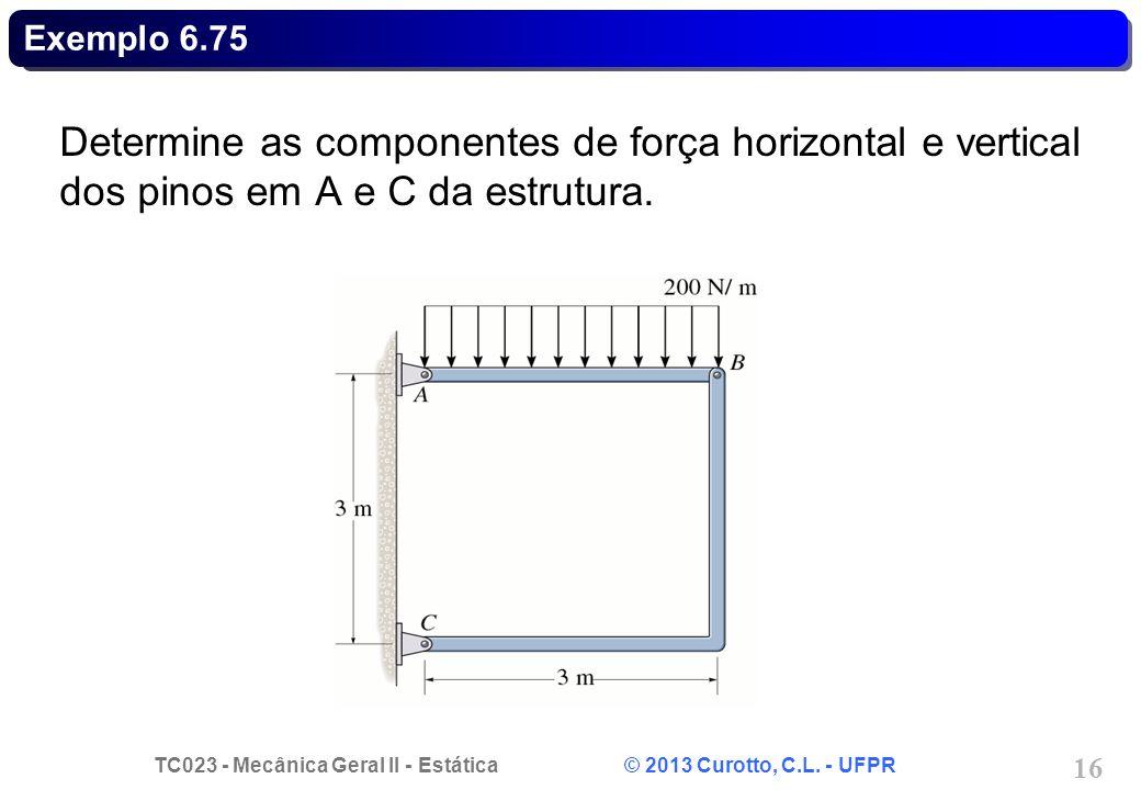 Exemplo 6.75 Determine as componentes de força horizontal e vertical dos pinos em A e C da estrutura.