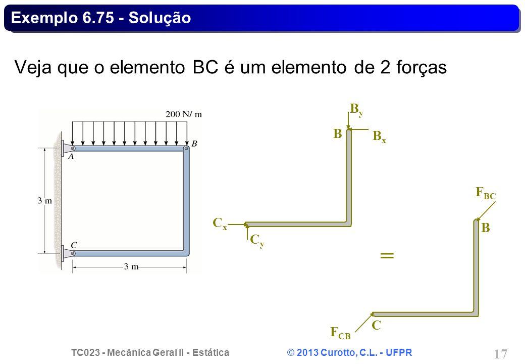 = Veja que o elemento BC é um elemento de 2 forças