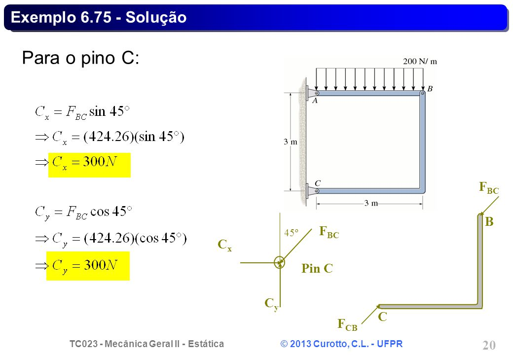 Exemplo 6.75 - Solução Para o pino C: FBC B C FCB Cx FBC Cy 45º Pin C