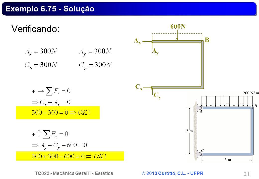 Exemplo 6.75 - Solução Verificando: B 600N Cy Cx Ay Ax