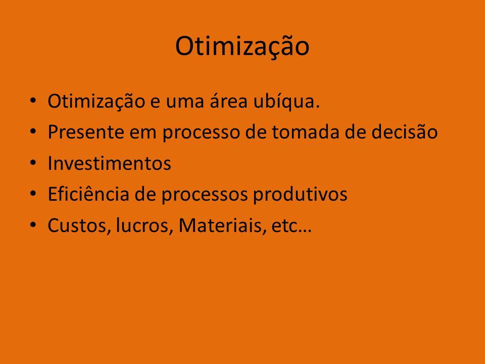 Otimização Otimização e uma área ubíqua.