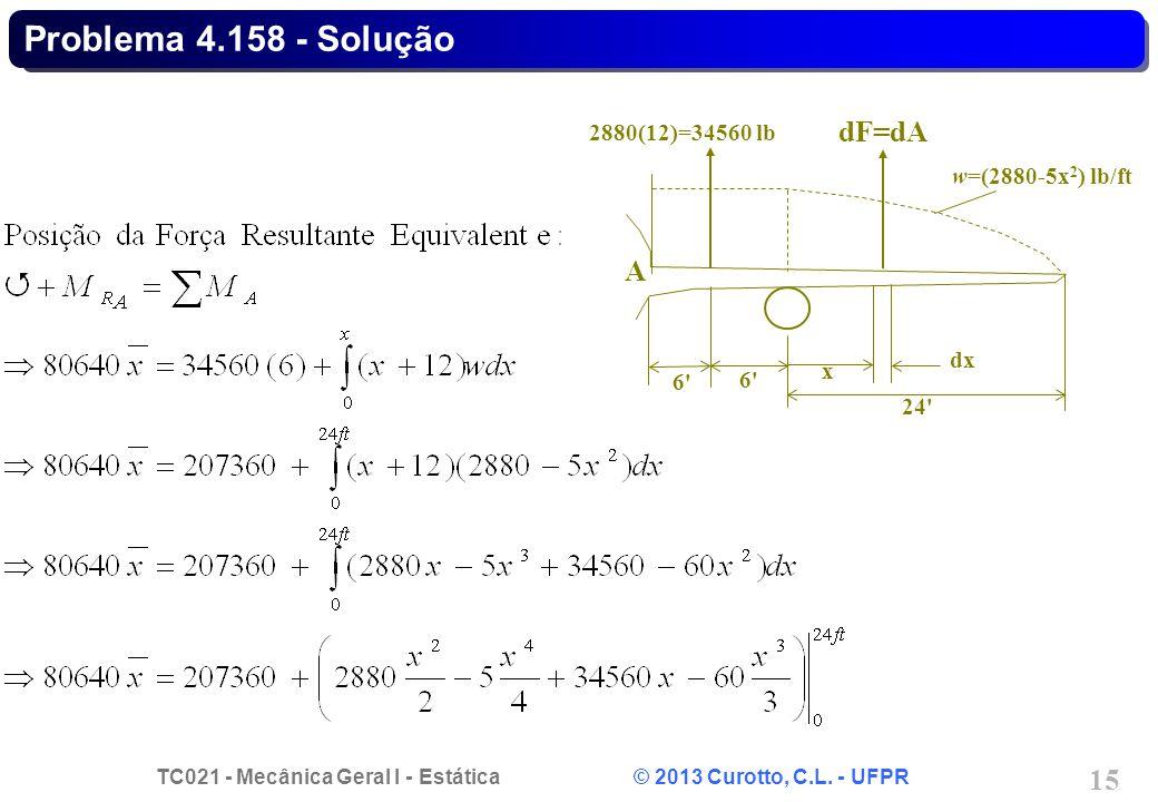 Problema 4.158 - Solução dF=dA A 2880(12)=34560 lb w=(2880-5x2) lb/ft