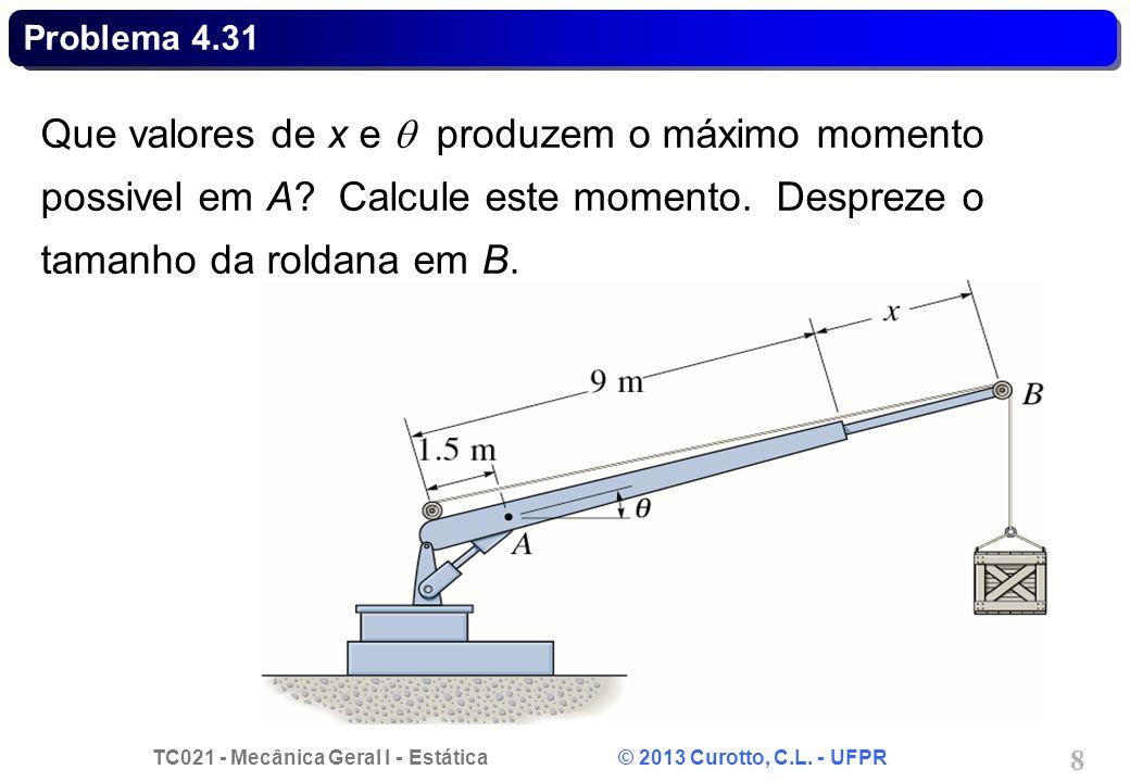 Problema 4.31 Que valores de x e  produzem o máximo momento possivel em A.