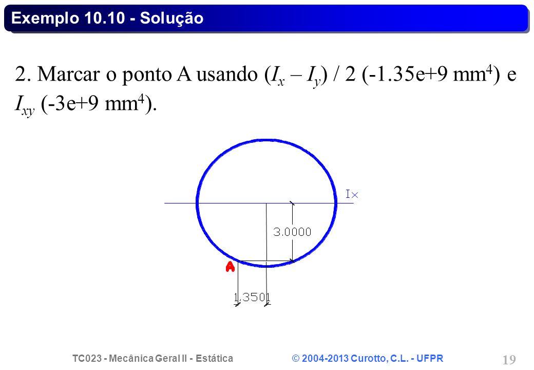 Exemplo 10.10 - Solução 2. Marcar o ponto A usando (Ix – Iy) / 2 (-1.35e+9 mm4) e Ixy (-3e+9 mm4).