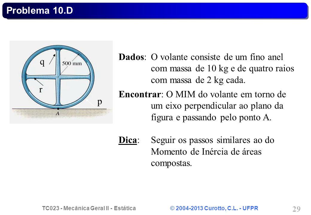 Problema 10.D p. q. r. Dados: O volante consiste de um fino anel com massa de 10 kg e de quatro raios com massa de 2 kg cada.