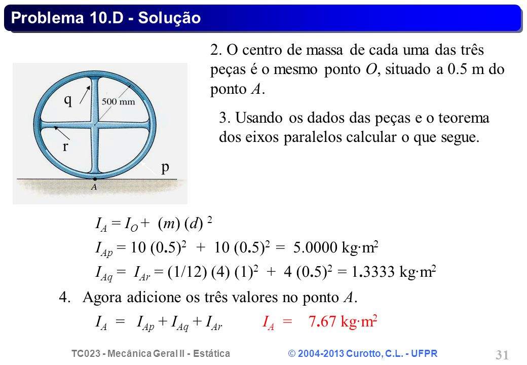 Problema 10.D - Solução 2. O centro de massa de cada uma das três peças é o mesmo ponto O, situado a 0.5 m do ponto A.