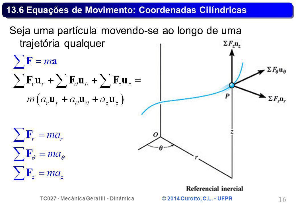 13.6 Equações de Movimento: Coordenadas Cilíndricas