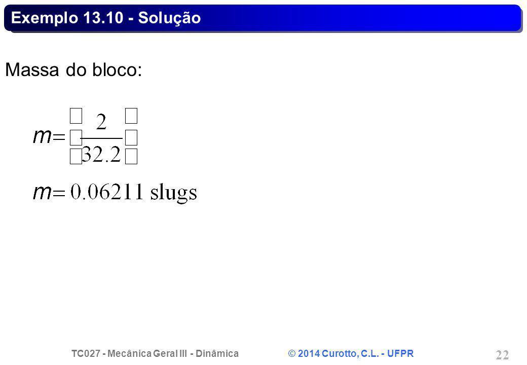 Exemplo 13.10 - Solução Massa do bloco:
