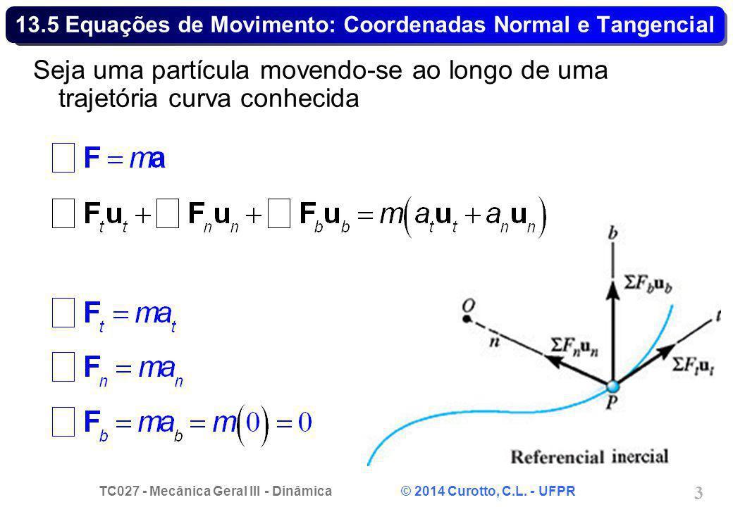 13.5 Equações de Movimento: Coordenadas Normal e Tangencial