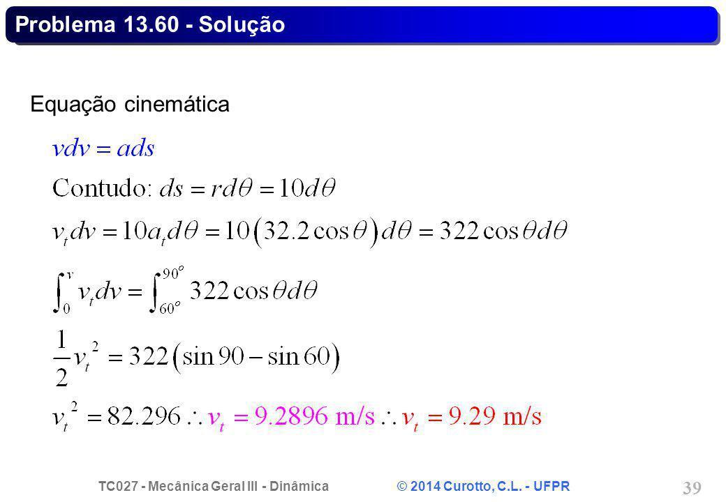 Problema 13.60 - Solução Equação cinemática