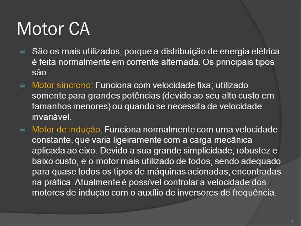 Motor CA São os mais utilizados, porque a distribuição de energia elétrica é feita normalmente em corrente alternada. Os principais tipos são: