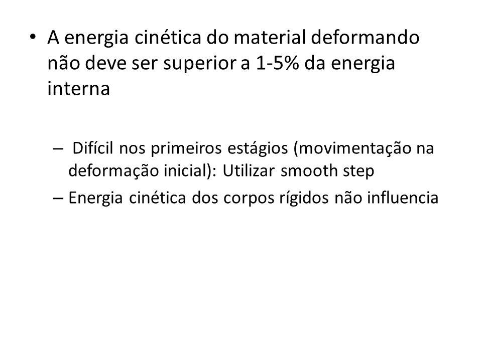 A energia cinética do material deformando não deve ser superior a 1-5% da energia interna