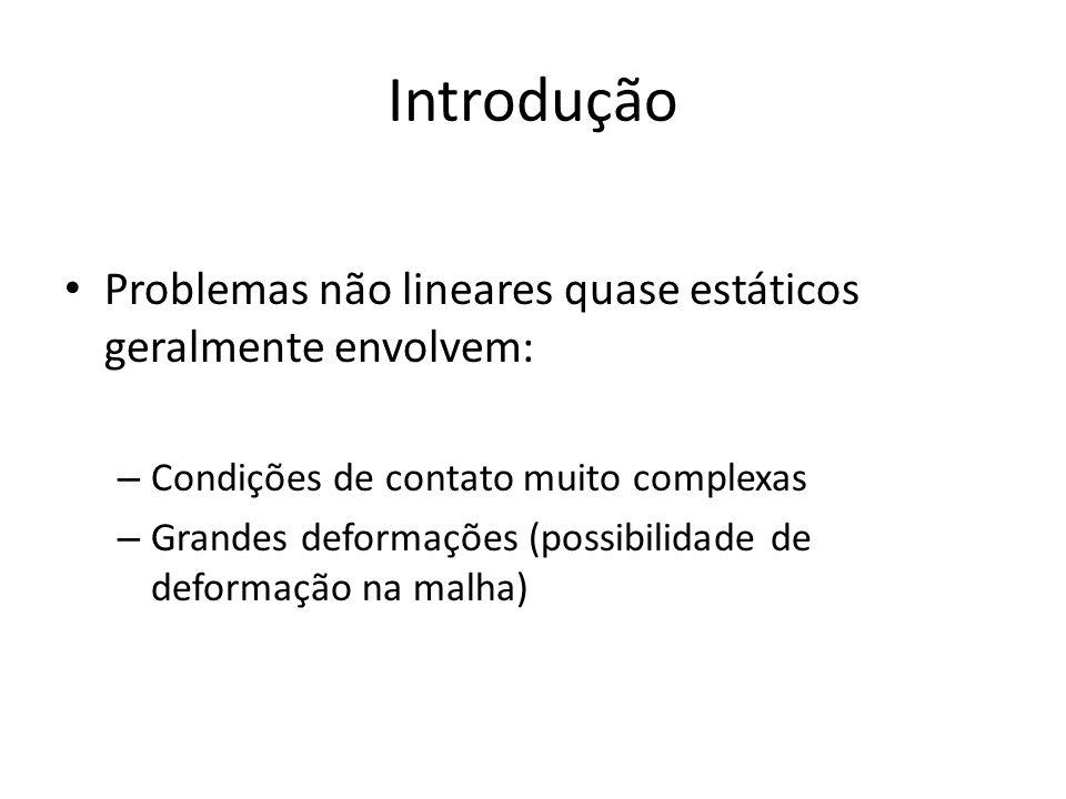 Introdução Problemas não lineares quase estáticos geralmente envolvem: