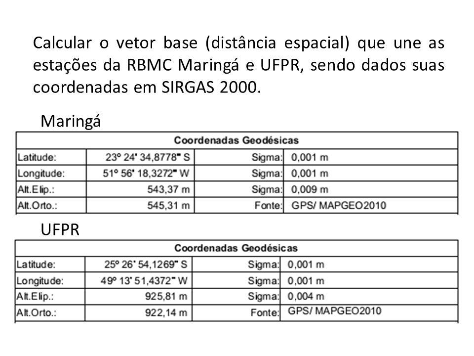 Calcular o vetor base (distância espacial) que une as estações da RBMC Maringá e UFPR, sendo dados suas coordenadas em SIRGAS 2000.