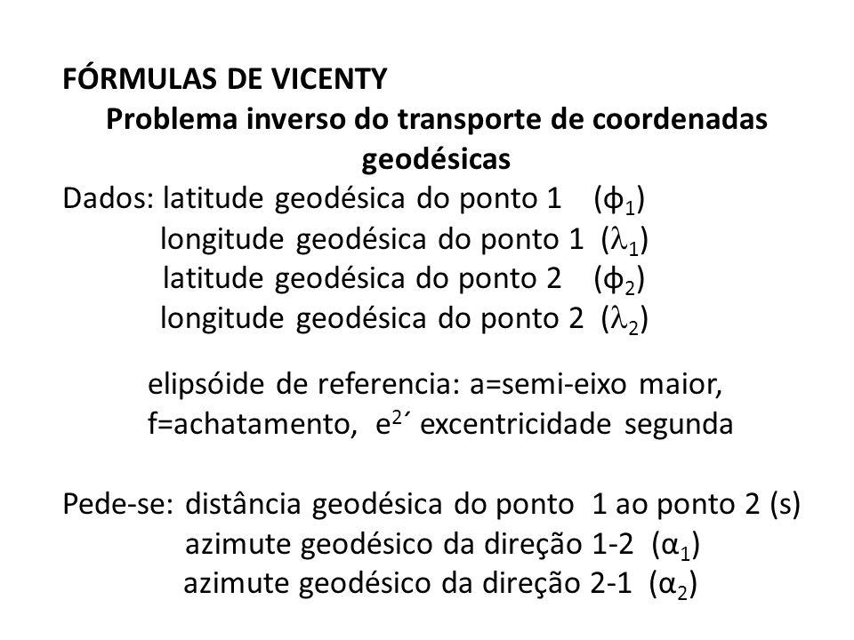 Problema inverso do transporte de coordenadas geodésicas