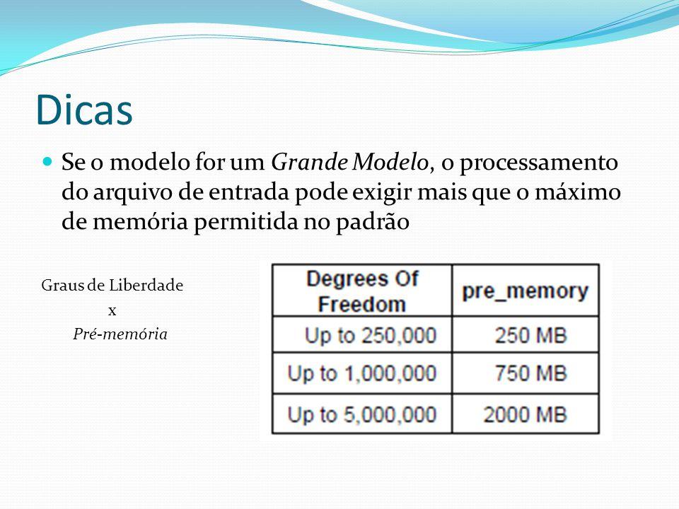 Dicas Se o modelo for um Grande Modelo, o processamento do arquivo de entrada pode exigir mais que o máximo de memória permitida no padrão.