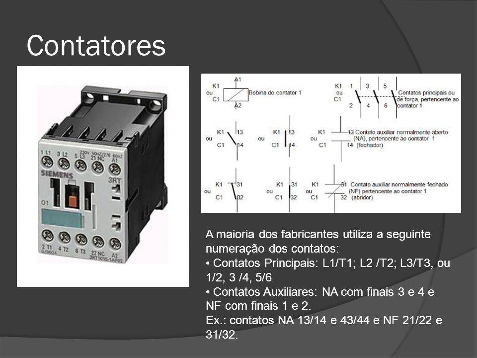 Contatores A maioria dos fabricantes utiliza a seguinte numeração dos contatos: • Contatos Principais: L1/T1; L2 /T2; L3/T3, ou 1/2, 3 /4, 5/6.