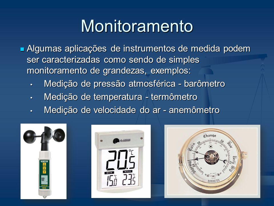 Monitoramento Algumas aplicações de instrumentos de medida podem ser caracterizadas como sendo de simples monitoramento de grandezas, exemplos: