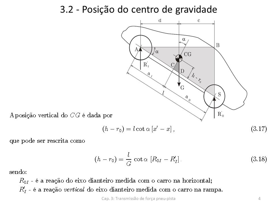 3.2 - Posição do centro de gravidade