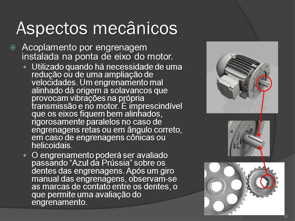 Aspectos mecânicos Acoplamento por engrenagem instalada na ponta de eixo do motor.