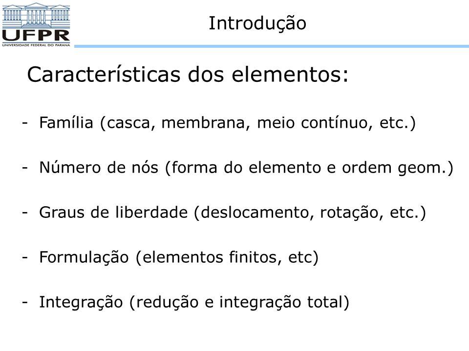Introdução Características dos elementos: