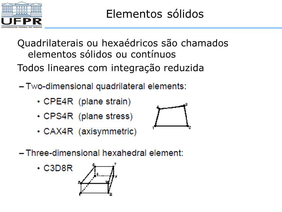 Elementos sólidos Quadrilaterais ou hexaédricos são chamados elementos sólidos ou contínuos.