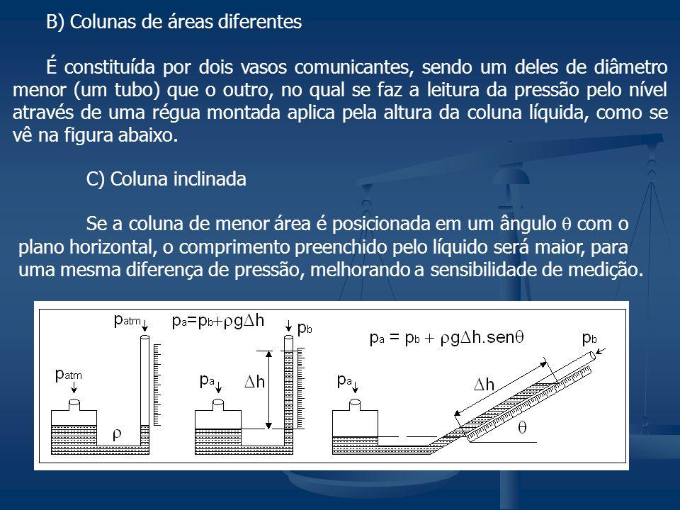 B) Colunas de áreas diferentes