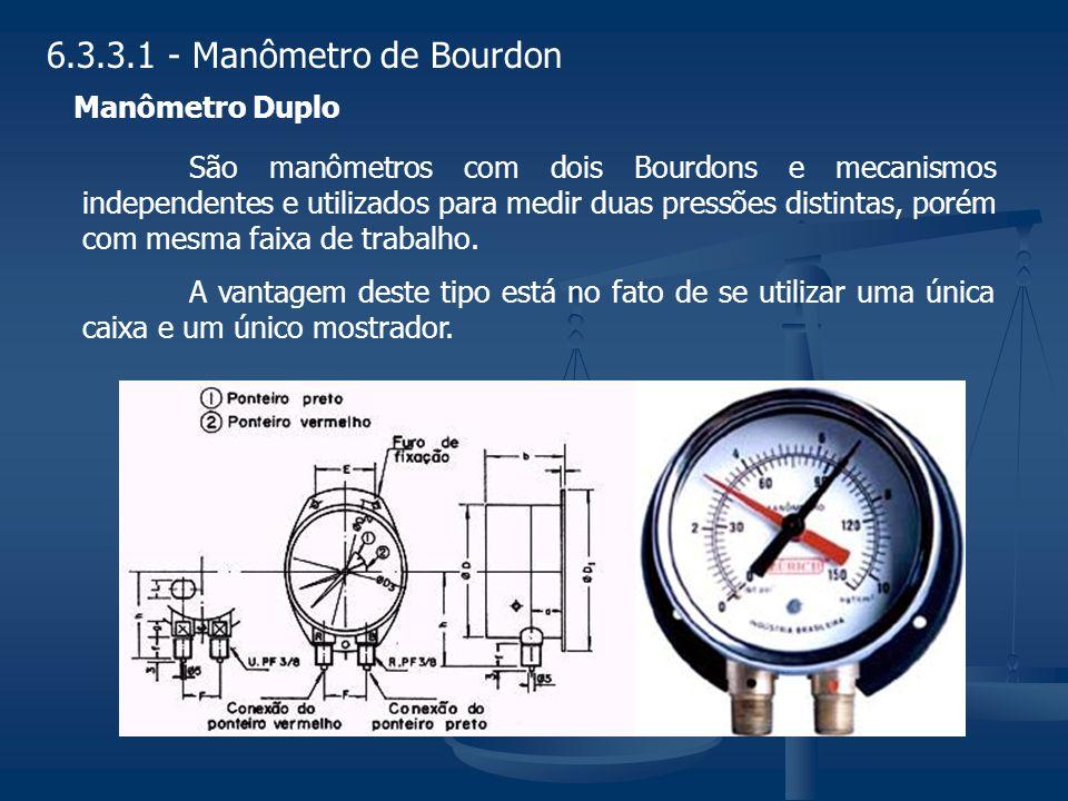 6.3.3.1 - Manômetro de Bourdon Manômetro Duplo