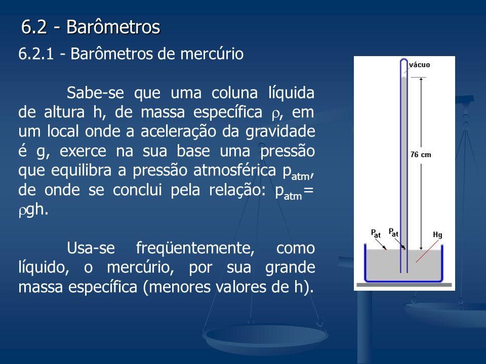 6.2 - Barômetros 6.2.1 - Barômetros de mercúrio