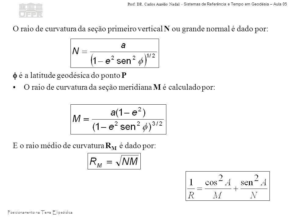 O raio de curvatura da seção primeiro vertical N ou grande normal é dado por: