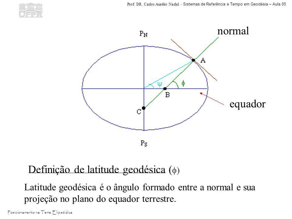 normal equador Definição de latitude geodésica ()