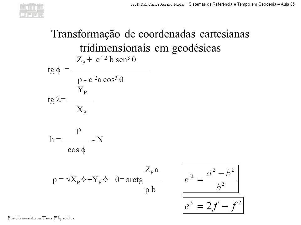 Transformação de coordenadas cartesianas tridimensionais em geodésicas