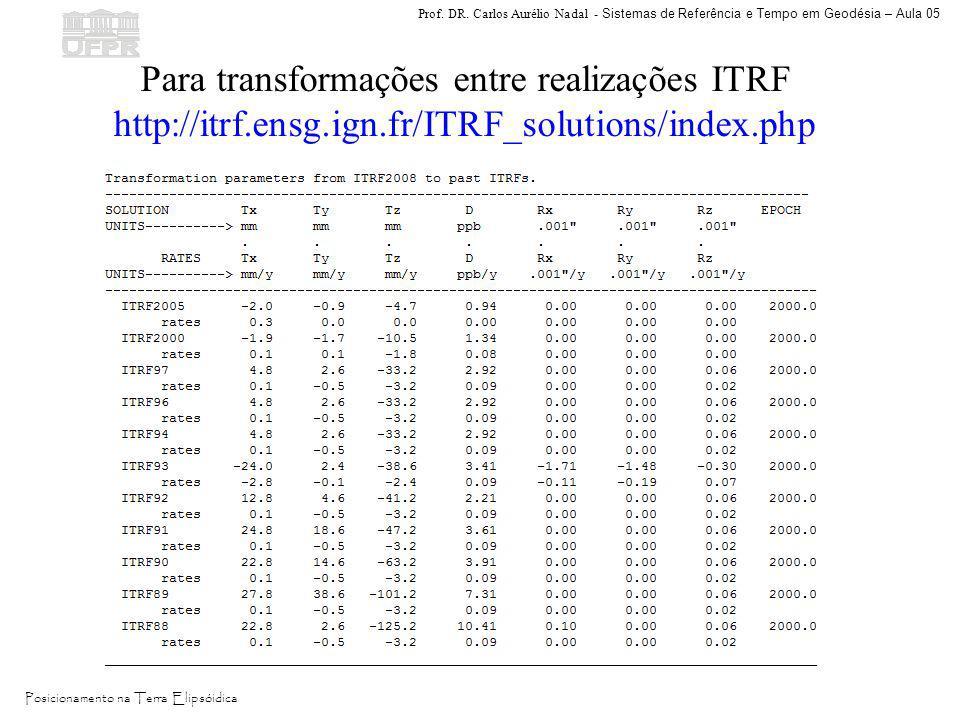 Para transformações entre realizações ITRF