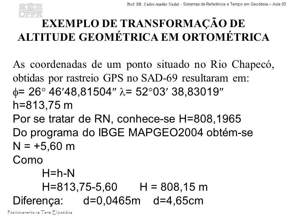 EXEMPLO DE TRANSFORMAÇÃO DE ALTITUDE GEOMÉTRICA EM ORTOMÉTRICA