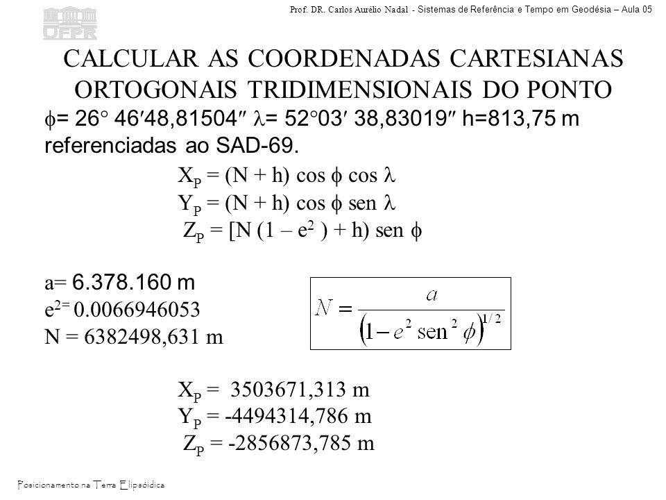 CALCULAR AS COORDENADAS CARTESIANAS ORTOGONAIS TRIDIMENSIONAIS DO PONTO