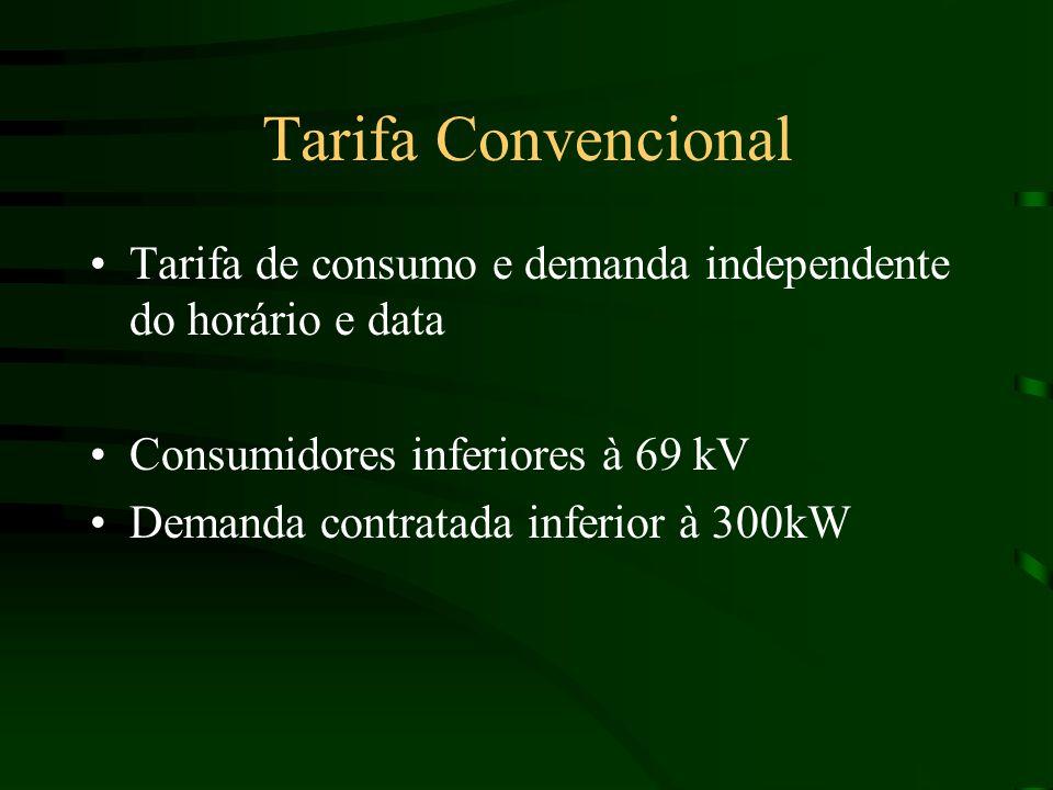 Tarifa Convencional Tarifa de consumo e demanda independente do horário e data. Consumidores inferiores à 69 kV.
