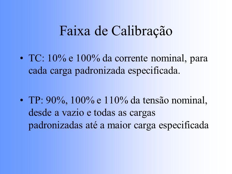 Faixa de Calibração TC: 10% e 100% da corrente nominal, para cada carga padronizada especificada.