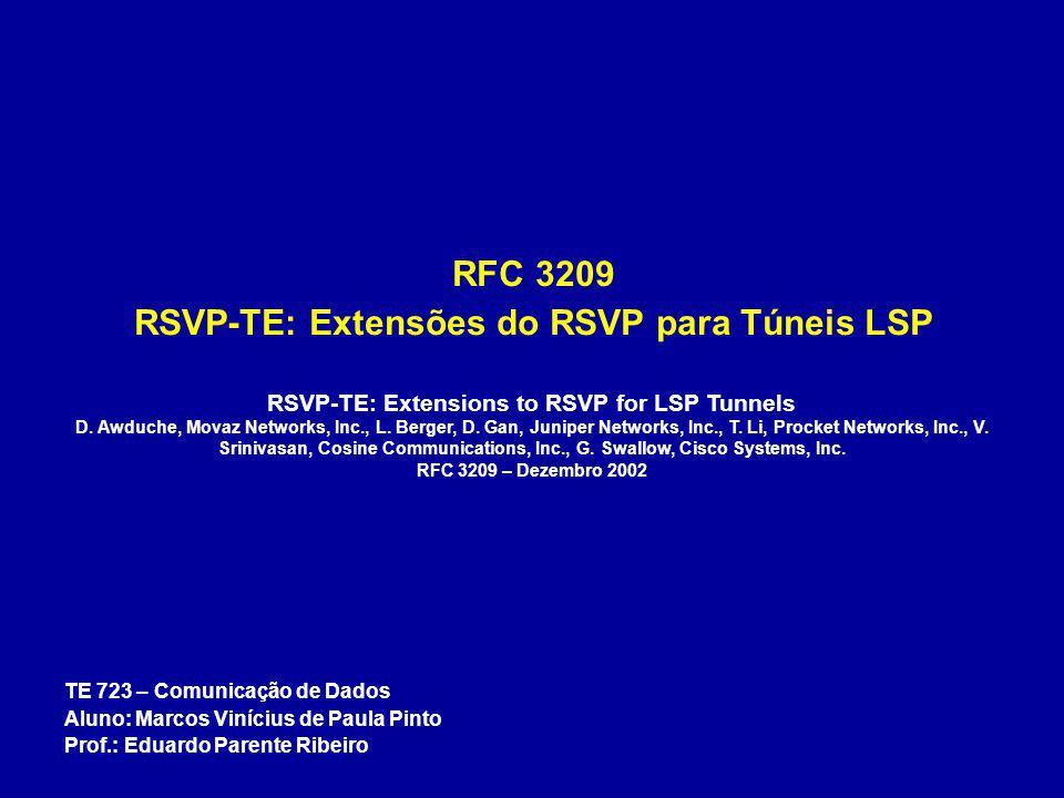 RFC 3209 RSVP-TE: Extensões do RSVP para Túneis LSP