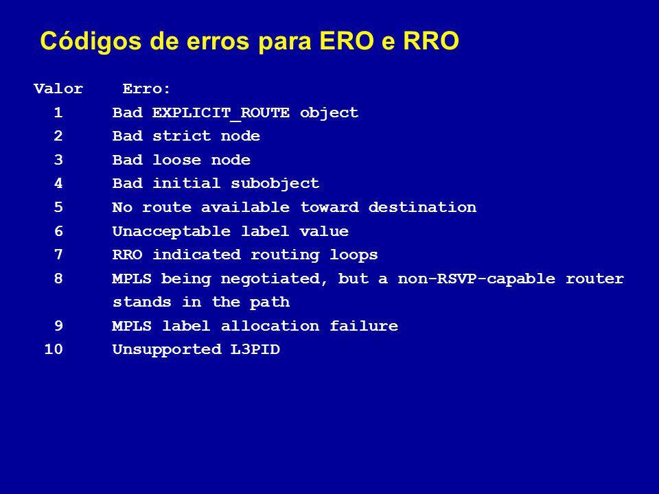 Códigos de erros para ERO e RRO