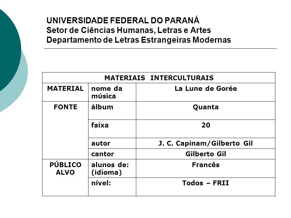 MATERIAIS INTERCULTURAIS J. C. Capinam/Gilberto Gil