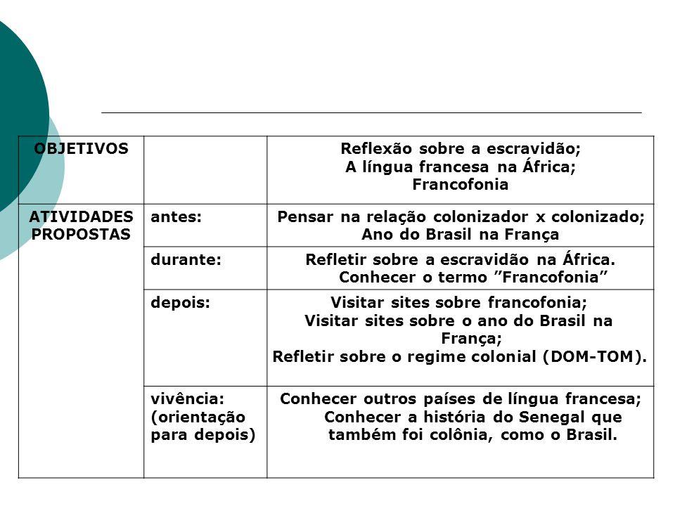 Reflexão sobre a escravidão; A língua francesa na África; Francofonia