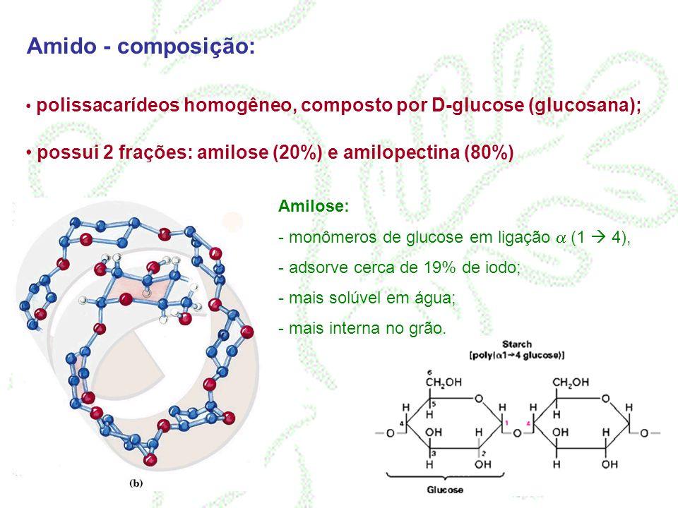 Amido - composição: polissacarídeos homogêneo, composto por D-glucose (glucosana); possui 2 frações: amilose (20%) e amilopectina (80%)