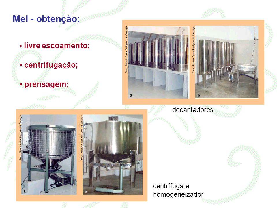 Mel - obtenção: centrifugação; prensagem; livre escoamento;