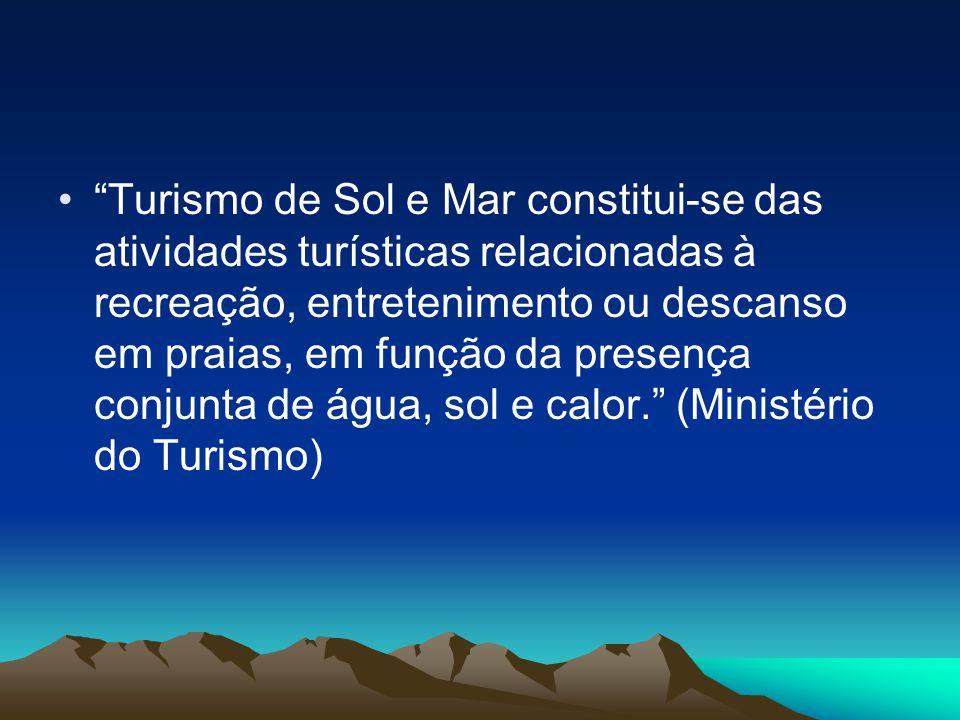 Turismo de Sol e Mar constitui-se das atividades turísticas relacionadas à recreação, entretenimento ou descanso em praias, em função da presença conjunta de água, sol e calor. (Ministério do Turismo)