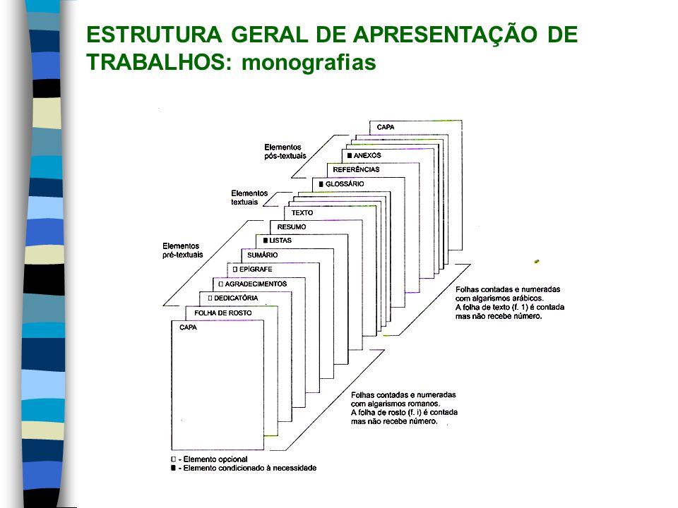 ESTRUTURA GERAL DE APRESENTAÇÃO DE TRABALHOS: monografias