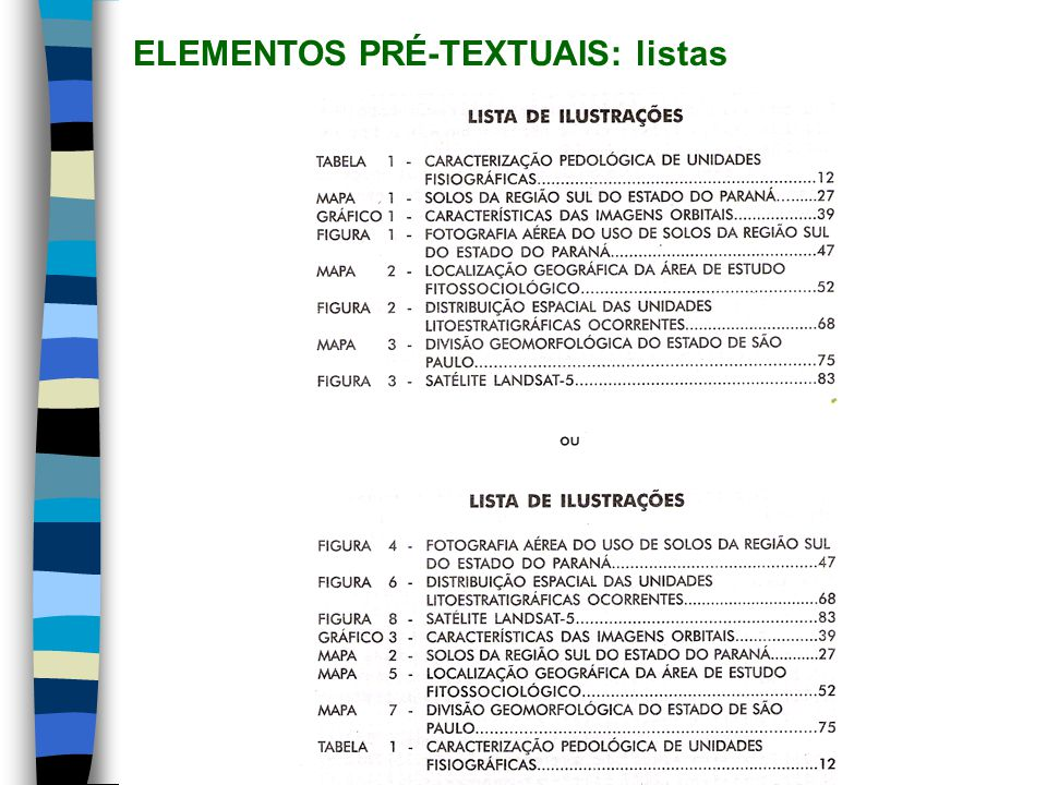 ELEMENTOS PRÉ-TEXTUAIS: listas