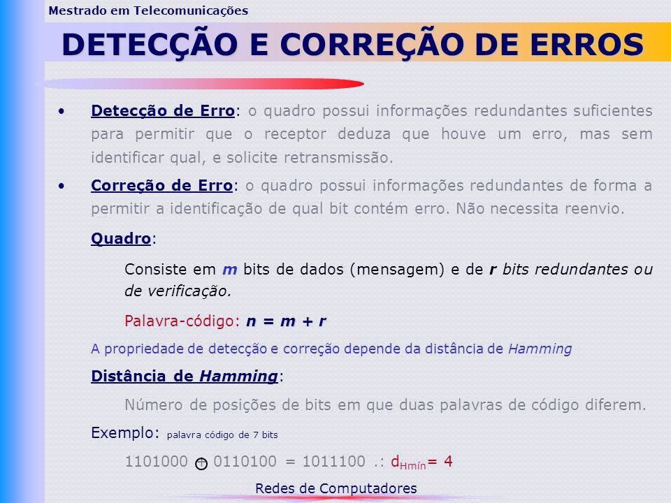 Mestrado em Telecomunicações DETECÇÃO E CORREÇÃO DE ERROS