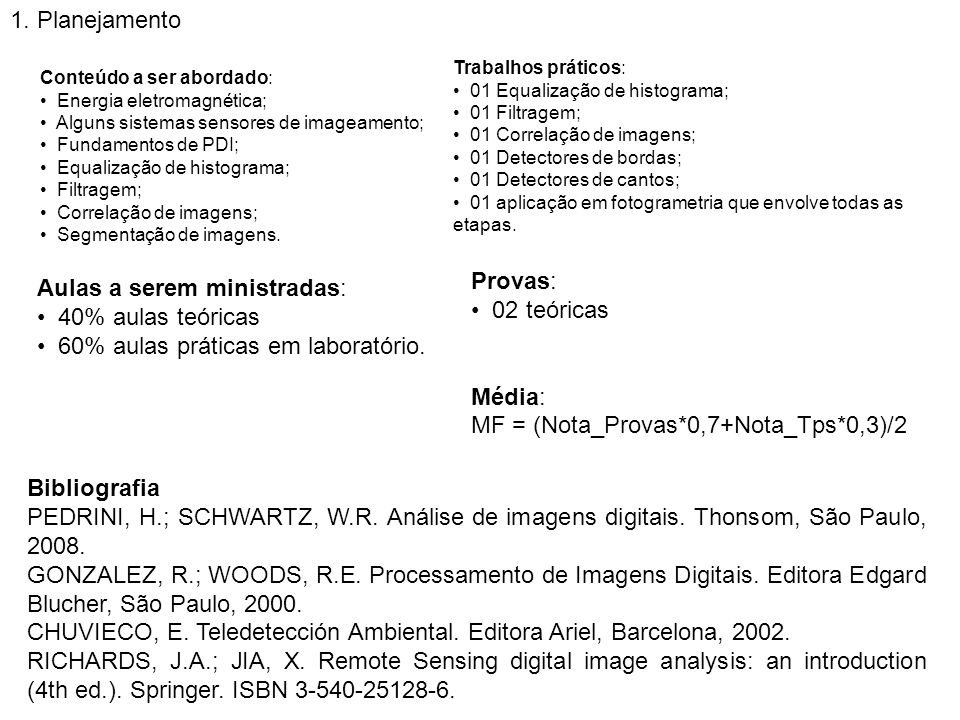 MF = (Nota_Provas*0,7+Nota_Tps*0,3)/2 Aulas a serem ministradas: