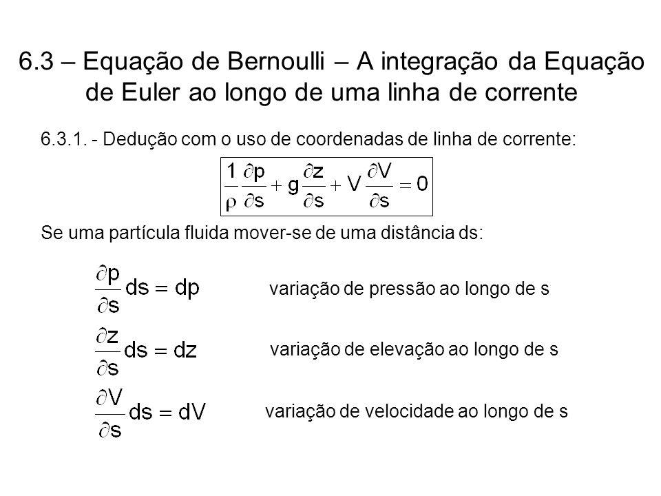 6.3 – Equação de Bernoulli – A integração da Equação de Euler ao longo de uma linha de corrente